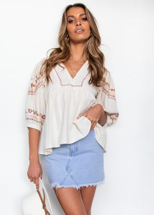 Chasing Unicorns Blouse - Cream