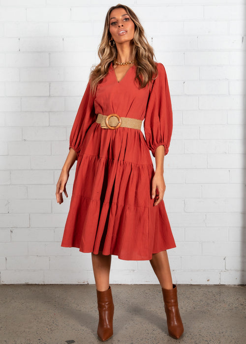 Napa Midi Dress - Rust