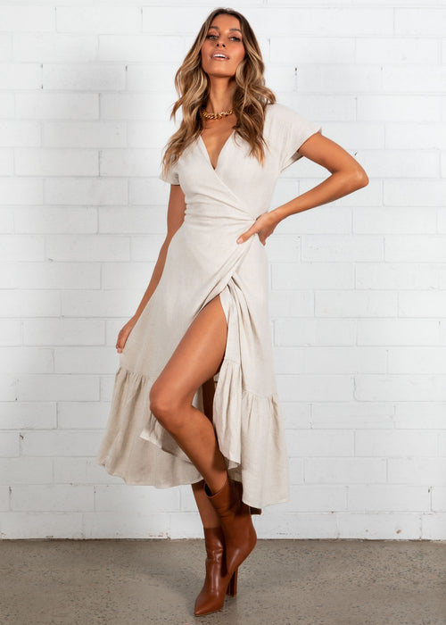 Kenzi Wrap Maxi Dress - Oatmeal