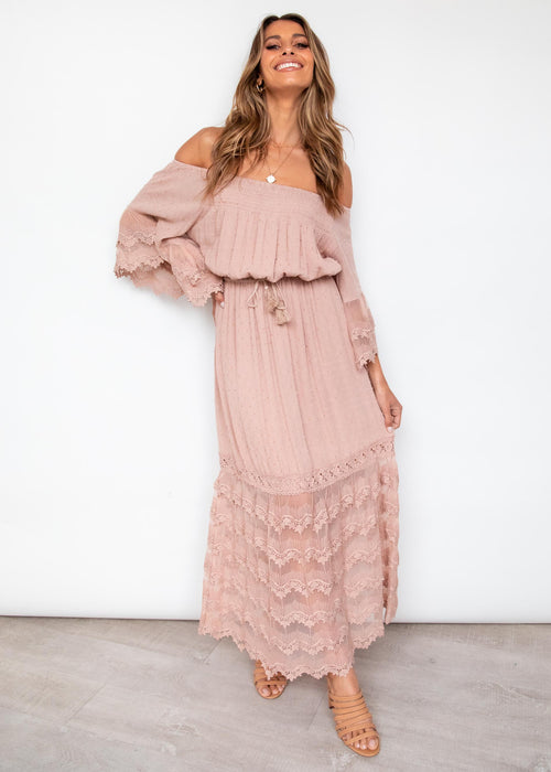 Lumina Lace Maxi Dress - Mocha