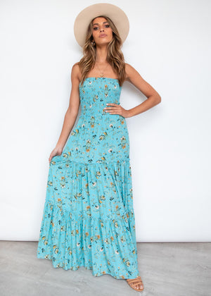 Chanti Strapless Maxi Dress - Blue Horizon