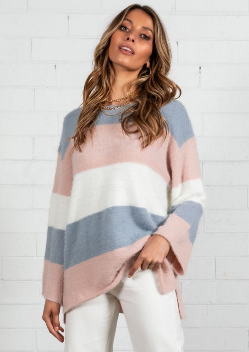 Into Dawn Striped Sweater - Blush/Grey