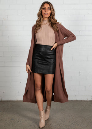 Brooklyn Long Line Cardigan - Chocolate