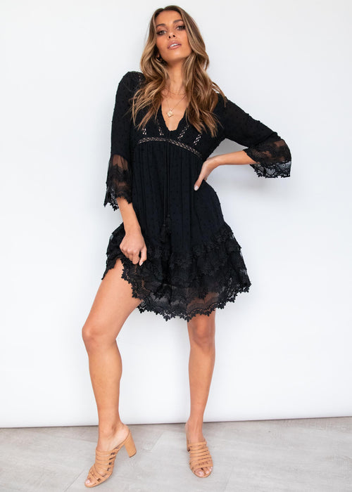 Peony Lace Dress - Black