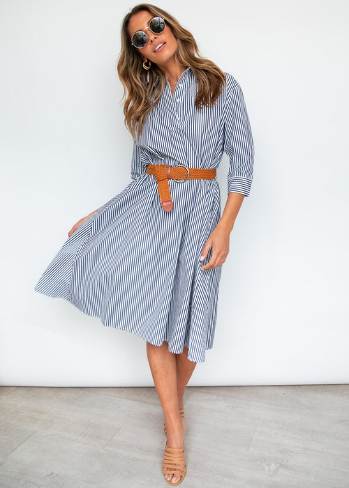 Stasia Shirt Midi Dress - Navy Stripe
