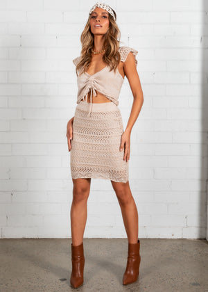 Find Me Knit Skirt - Oatmeal