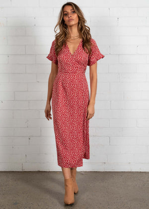 Botanic Wrap Midi Dress - Crimson Floral