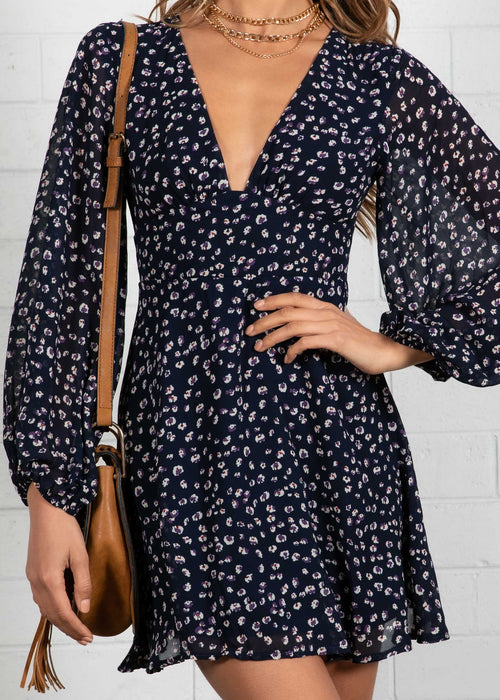 Take On Me Dress - Navy Floral