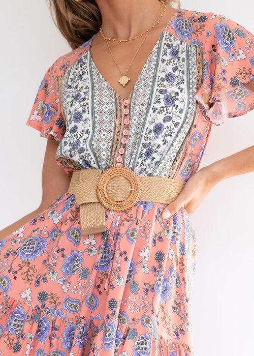 Sunny Again Maxi Dress - Apricot Floral