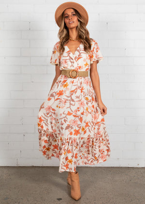 Heavy Heart Maxi Dress - Cream Floral