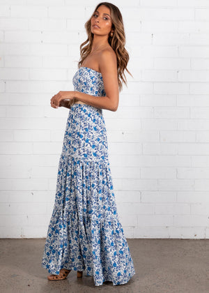 Chanti Strapless Maxi Dress - Sea Jewel