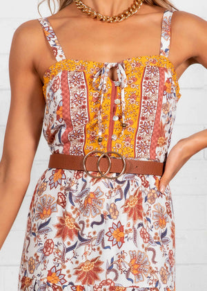 My Ties Midi Dress - Ochre Paisley