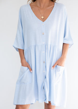 Most Amused Smock Dress - Blue