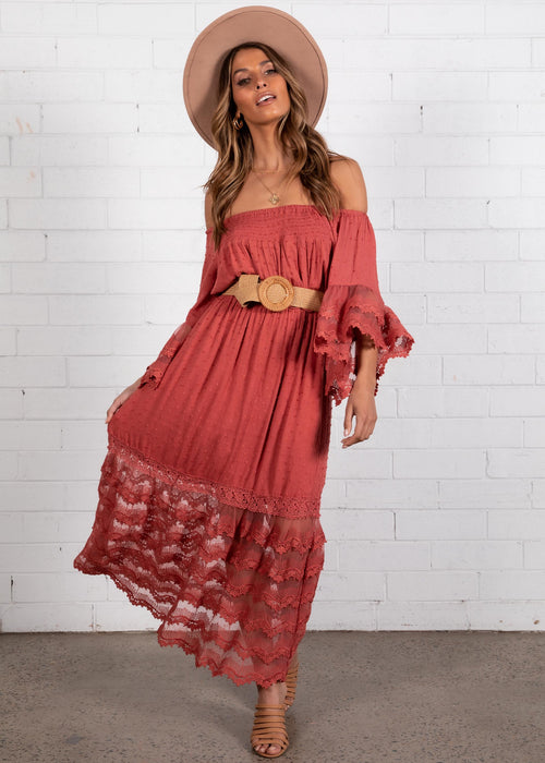 Lumina Lace Maxi Dress - Rose