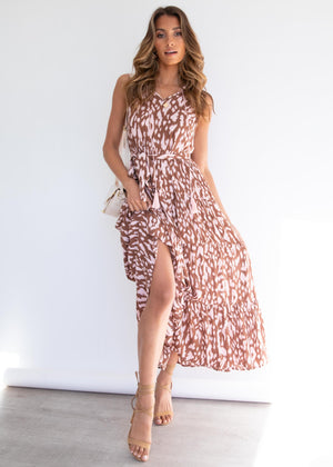 Kyrie Maxi Dress - Blush Leopard
