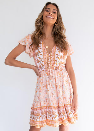 Zeela Dress - Peach Floral