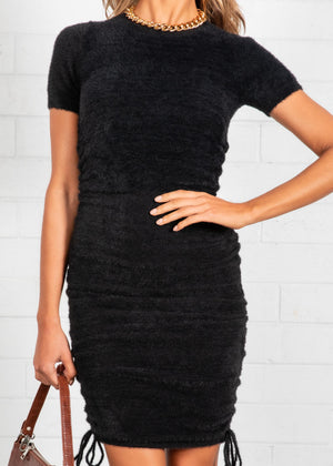 Coco Fluffy Ruched Dress - Black
