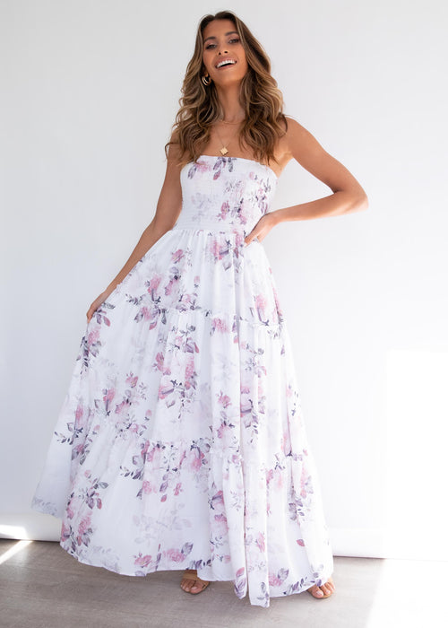 Claudia Maxi Dress - White Floral