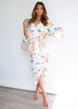 Slipping Away Midi Dress - White Floral