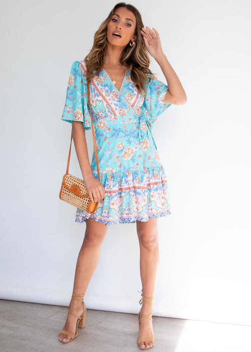 Compromises Wrap Dress - Blue Garden