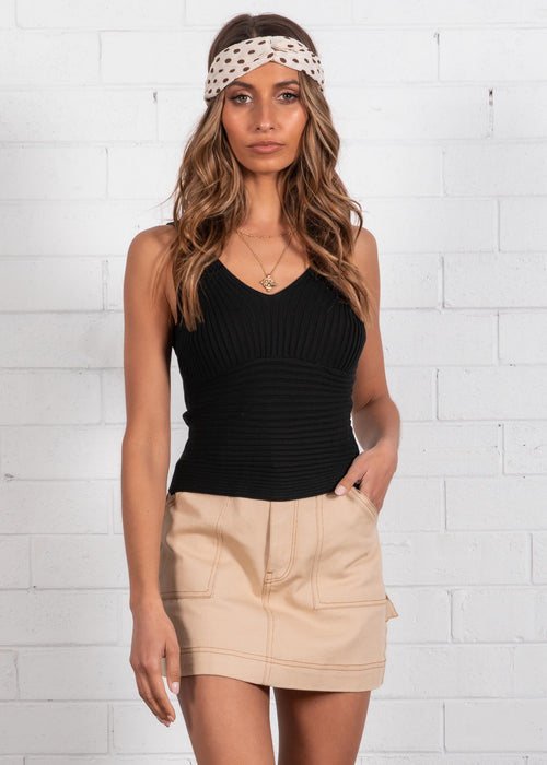 Quora Knit Cami - Black