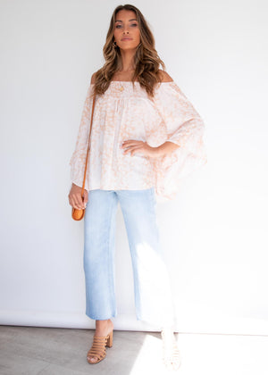Shreya Off The Shoulder Blouse - Peach Leopard