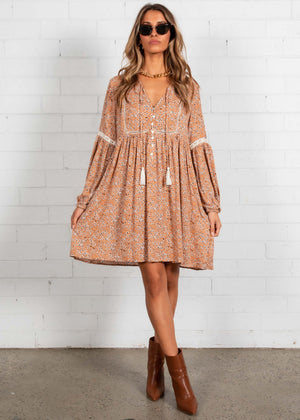 Dont Cry Smock Dress - Honey Floral