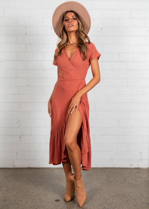Kenzi Wrap Maxi Dress - Terracotta