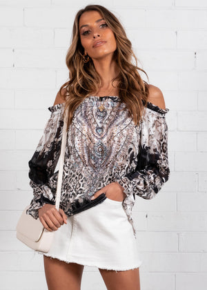 Nirvana Off Shoulder Blouse - Black Ornate