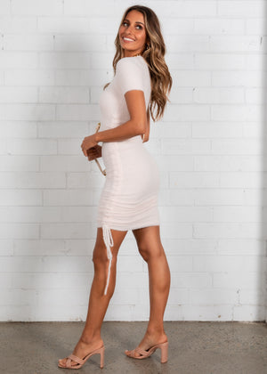 Coco Fluffy Ruched Dress - Blush