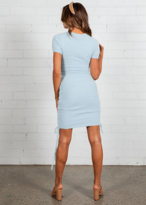 Coco Fluffy Ruched Dress - Blue