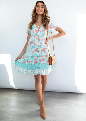 Ellerie Tunic Dress - Mint Floral