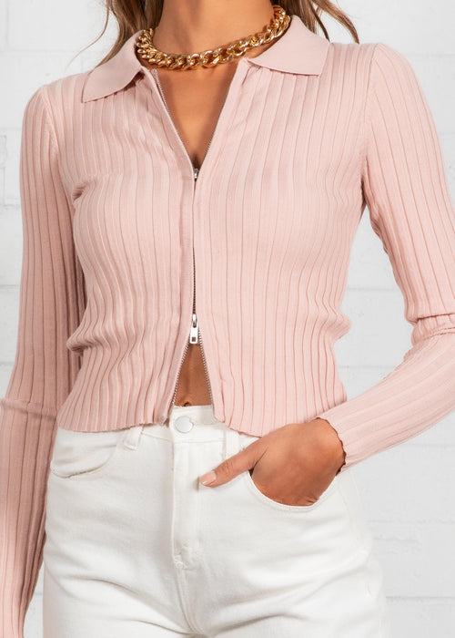 Volt Zip Knit Top - Rose