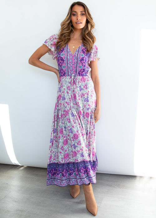 Sunny Again Maxi Dress - Indigo Floral