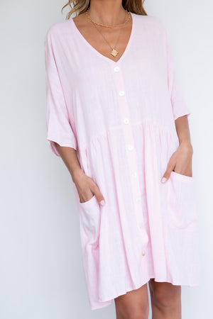 Most Amused Smock Dress - Pink