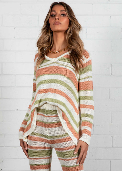Lonely Hearts Knit Set - Sage Stripe