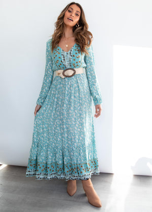 Between The Lines Maxi Dress - Turquoise Floral