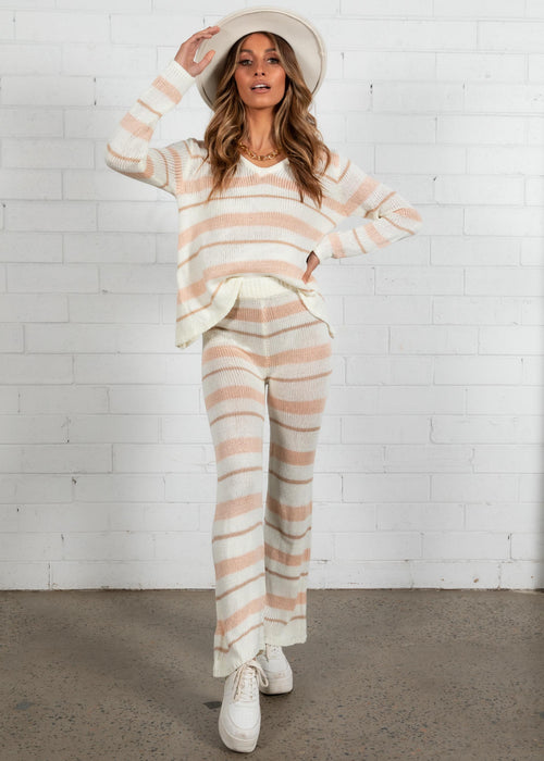 Lonely Hearts Knit Set - Peach Stripe