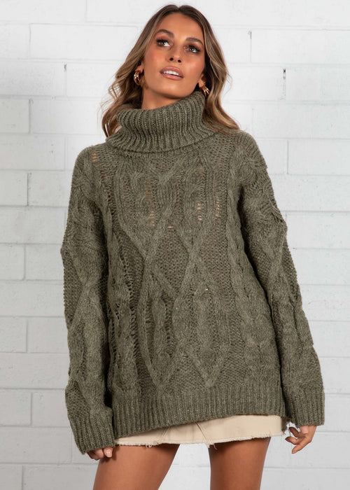 Tainted Roll Neck Sweater - Khaki