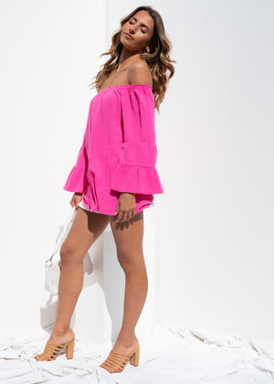 Turlock Off Shoulder Top - Fuschia