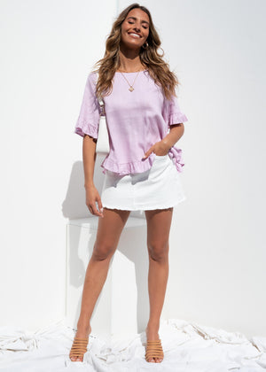 Hathaway Linen Blouse - Lilac
