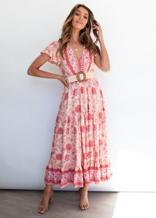Sunny Again Maxi Dress - Coral Sands