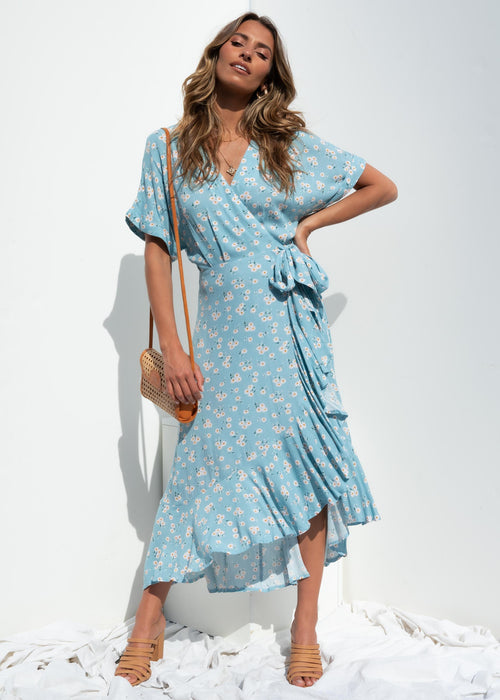 Rosen Hi-Lo Maxi Dress - Blue Floral