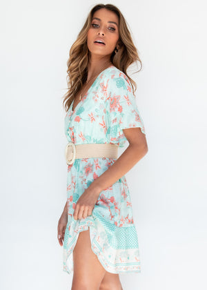 Ribah Dress - Mint Floral