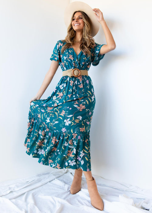 Heavy Heart Maxi Dress - Teal Floral