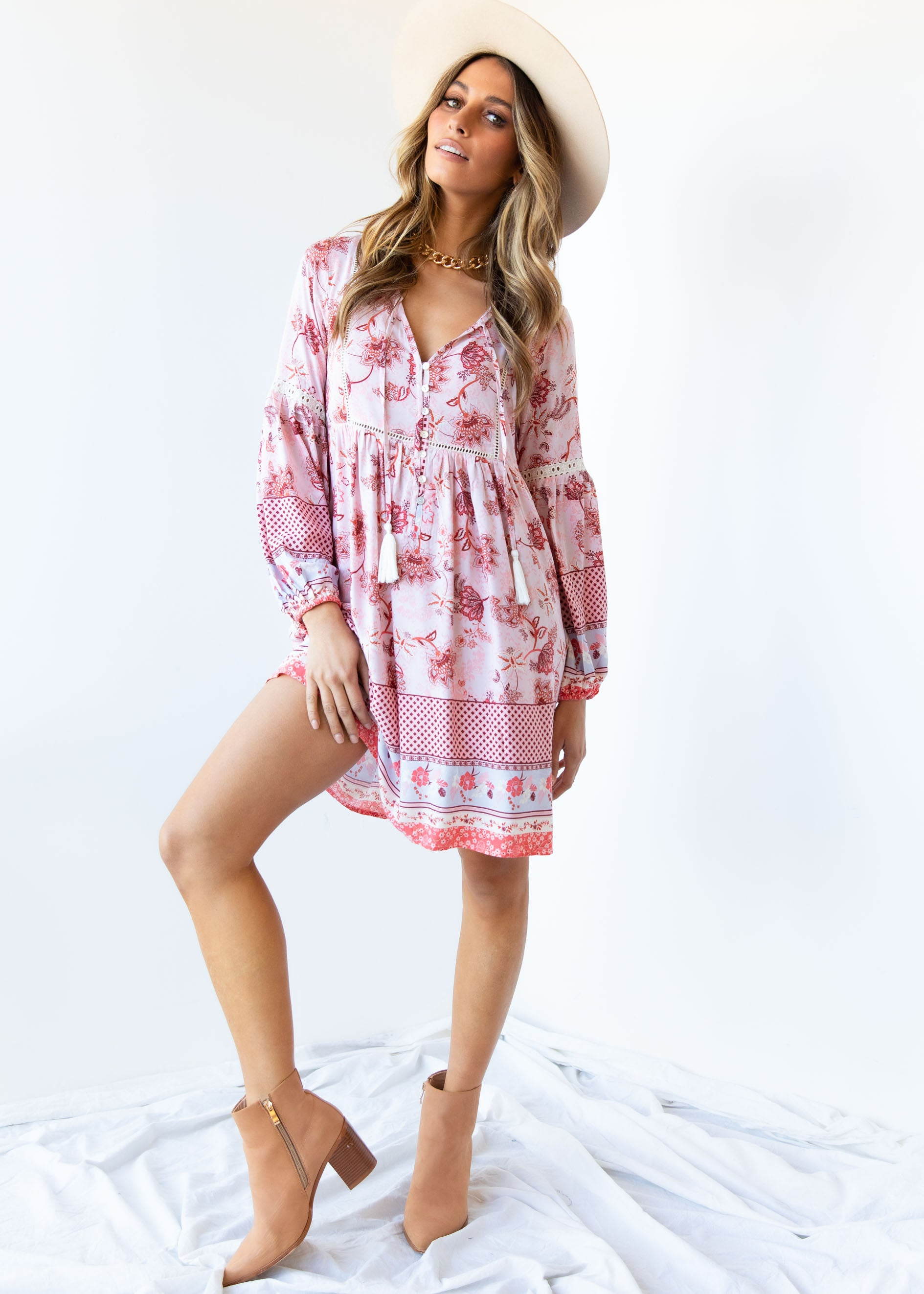 Dont Cry Smock Dress - Pink Paisley