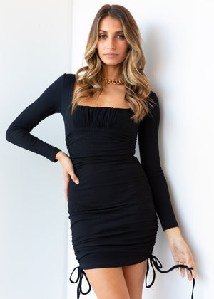 Rough Diamond Ruched Dress - Black