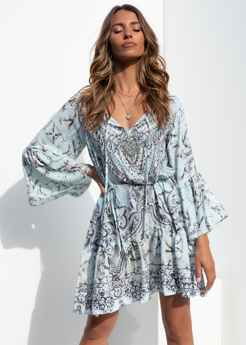 Barcelona Dress - Mint Ornate