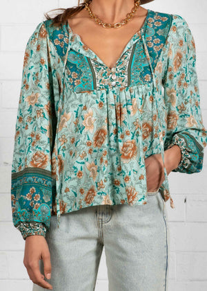 Free Roaming Blouse - Emerald Floral