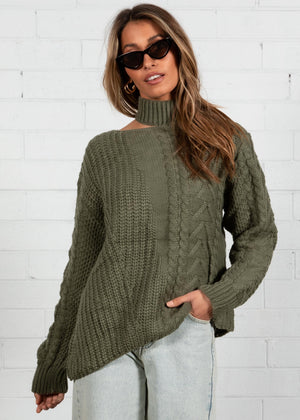 Feeling Forever Cable Sweater - Khaki